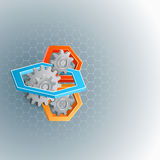 Abstract, computer, design background with gear and hexagons. Three dimensions geometric composition with cogwheels and hexagons ; Hexagonal pattern backdrop stock illustration