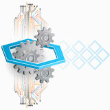 Abstract, computer, design background with gears and electronic circuit royalty free illustration