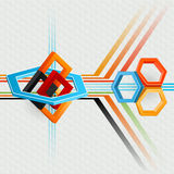 Abstract, computer, design background with geometric composition with hexagons and squares royalty free illustration