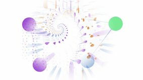 Abstract computer generated image of circles connected by lines in pastel colours. Connectivity concept royalty free illustration