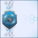Abstract computer graphic design with security shield behind processor chip Stock Photo