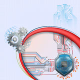 Abstract computer graphic design with shield behind processor chip and cogwheels vector illustration
