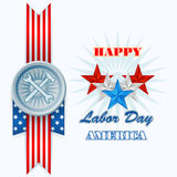 Abstract, computer, graphic design with stars, hammer and wrench for American Labor Day Stock Photography