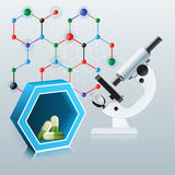 Abstract computer graphic with green pills and microscope. Green pills in side of blue tree dimensions hexagon and microscope on colorful, chemical hexagonal Stock Photos