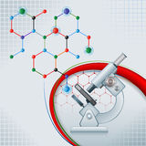 Abstract computer graphic with microscope. And chemical structure; Design layout template for science, with microscope on colorful, chemical, hexagonal Royalty Free Stock Photo