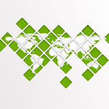 Abstract computer graphic World map of green mosaic. Stock Photography