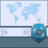 Abstract computer graphic World map with shield and processor chip Royalty Free Stock Image