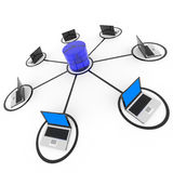 Abstract computer network and database. Concept. Computer generated image Royalty Free Stock Photo