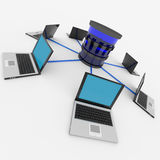 Abstract computer network and database. Concept. Stock Images