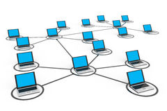 Abstract computer network with laptops. Computer generated image Stock Images