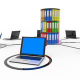 Abstract computer network with laptops. Abstract computer network with laptops and archive or database. Computer generated image Stock Photo