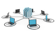 Abstract computer network with laptops. Abstract computer network with laptops and archive or database. Computer generated image Stock Photography