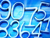 Abstract Computer Number Background. A montage of metal numbers on a blue computer circuit board background Stock Images