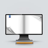 Abstract computer screen empty curled pages vector Stock Image