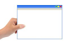 Abstract computer window in hand Stock Photos