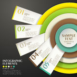 Abstract concentric chart infographics. 3d vector abstract concentric and tag infographic elements royalty free illustration