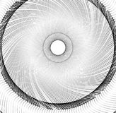 Abstract concentric element with radial lines. Circular spiral p Stock Photos