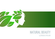 Abstract concept for beauty salon, cosmetics, spa, natural healtcare. Female face on green background. Woman with green leaves hair. Vector label, package royalty free illustration