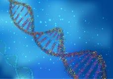 Abstract Concept biochemie met DNA-molecule op blauwe achtergrond Royalty-vrije Stock Afbeeldingen