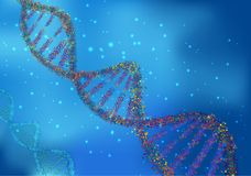 Abstract Concept of biochemistry with dna molecule on blue background. Illustration of Abstract Concept of biochemistry with dna molecule on blue background Royalty Free Stock Images