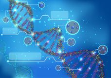 Abstract Concept of biochemistry with dna molecule on blue background. Illustration of Abstract Concept of biochemistry with dna molecule on blue background Royalty Free Stock Image