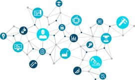 Engineering illustration: digitalization, technology, innovation. Abstract concept in blue color with connected icons showing engineering concepts, tools and Royalty Free Stock Photography