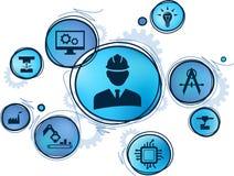 Engineering concept: digitalization, technology, innovation - flat illustration royalty free illustration