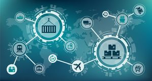 Modern logistics / supply chain management / delivery of goods - illustration. Abstract concept in blue color with interconnected icons representing supply chain royalty free illustration