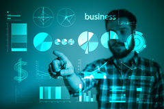 Abstract concept of business success, growth and globalization. Businessman touching growing graph andearth globe Royalty Free Stock Images