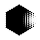 Abstract concept of destroying particle. Dissolution. Black and white scheme of erosion. Vector illustration. Hexagonal nanoparticle. Monochrome scientific Royalty Free Stock Images