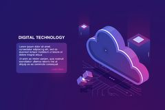Abstract concept of digital cloud computing, cloud data storage, server room, database and data warehouse, website. Landing page vector ultraviolet stock illustration