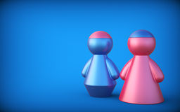 Abstract concept with figures of man and woman. Exchange brain. 3d render Royalty Free Stock Image
