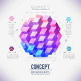 Abstract concept of geometric composition. Collected from the triangular shapes.The hexagonal molecular lattice with geometrical figure in the middle. Color Royalty Free Stock Photo