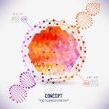Abstract concept geometric lattice, the scope of molecules, DNA chain. Round composition of the molecular lattice with geometrical figure in the middle. Color stock illustration
