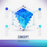 Abstract concept geometric lattice, the scope of molecules, in the hexagon. Stock Photo