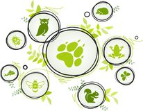 Wildlife / biodiversity icon concept – endangered animals icons, vector illustration. Abstract concept in green color with interconnected animal icons stock illustration