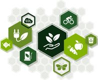 Sustainability icon concept: ecology, green energy, recycling, environmental protection – vector illustration. Abstract concept in green color with royalty free illustration