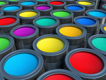 Abstract concept. Group of tin metal cans with color paint dye Royalty Free Stock Photo