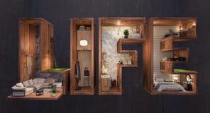 Abstract concept het leven door binnenland stock illustratie