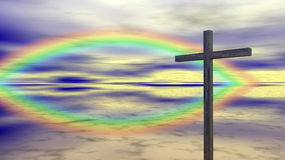 Religion - Cross - Rainbow. Abstract concept for hope and religion. A simple christian cross with a cloudy sky background. 2 rainbows are forming the shape of a Stock Image