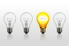 Abstract concept of lightbulbs Stock Images