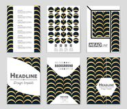Abstract concept monochrome geometric pattern. Black and white minimal background. Creative illustration template. Seamless. Abstract layout background set. For vector illustration