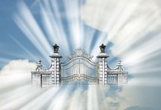 Heaven, Pearly Gates, Gate, Religion, God. Abstract concept for the pearly gates and going to heaven to meet god. Religion and Christians who practice royalty free stock image