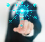 Abstract concept photo of man touching future technology social network button. Digital touch screen of icon for web Royalty Free Stock Image