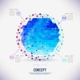 Abstract concepten geometrisch rooster, het werkingsgebied van molecules, de molecules in de cirkel stock illustratie