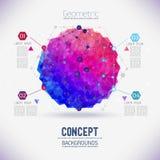 Abstract concepten geometrisch rooster, het werkingsgebied van molecules, de molecules in de zeshoek Stock Afbeeldingen