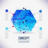 Abstract concepten geometrisch rooster, het werkingsgebied van molecules, in de zeshoek Royalty-vrije Stock Foto