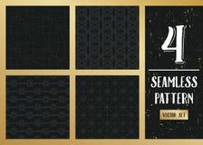 Abstract concepten zwart-wit geometrisch patroon Donkerblauwe, gouden minimale achtergrond Creatief illustratiemalplaatje naadloo Stock Fotografie