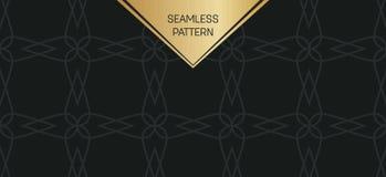 Abstract concepten zwart-wit geometrisch patroon Donkerblauwe, gouden minimale achtergrond Creatief illustratiemalplaatje naadloo Stock Foto's