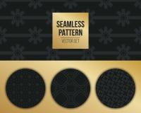 Abstract concepten zwart-wit geometrisch patroon Donkerblauwe, gouden minimale achtergrond Creatief illustratiemalplaatje naadloo Royalty-vrije Stock Afbeeldingen